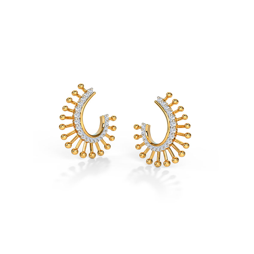 Diamond Earrings 14 Karat Yellow Gold Glam Diamond Hoop Earrings