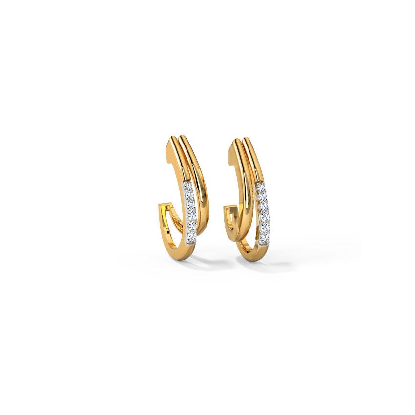Diamond Earrings 14 Karat Rose Gold Dazzling Diamond Hoop Earrings