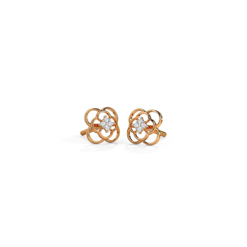 Diamond Earrings 14 Karat Rose Gold Cute Dazzle Diamond Stud Earrings