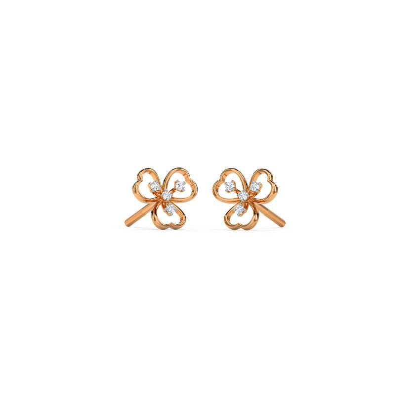 Diamond Earrings 14 Karat Rose Gold Aliana Flora Diamond Stud Earrings
