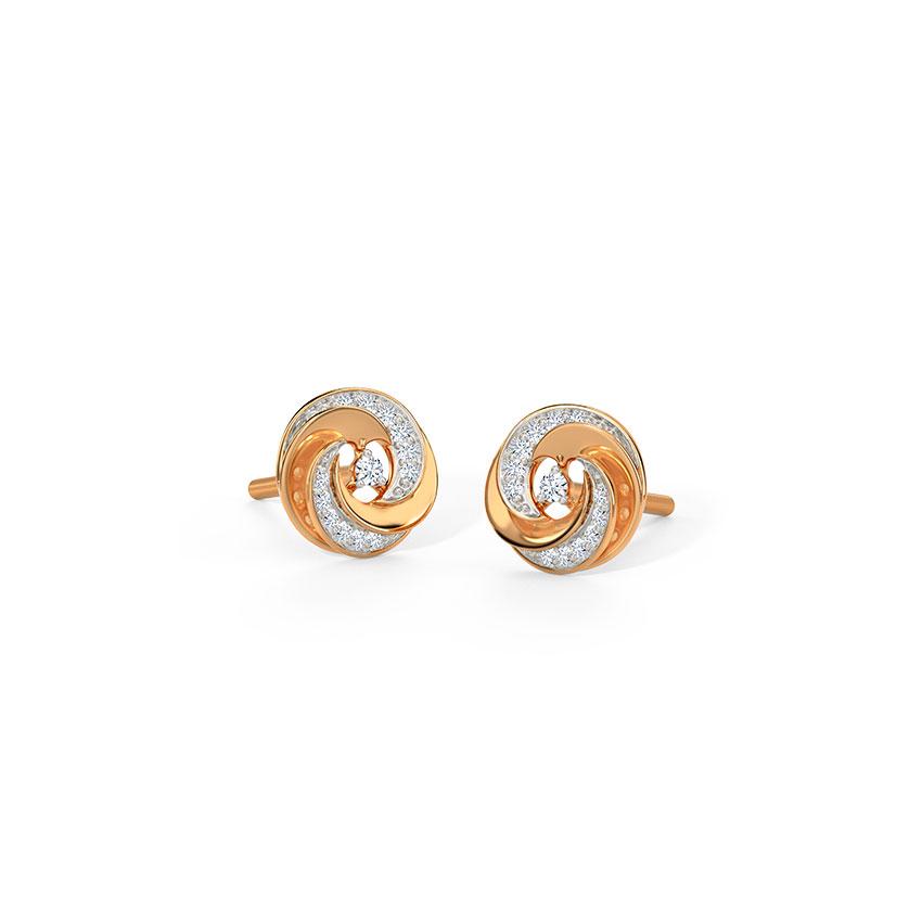 Diamond Earrings 14 Karat Rose Gold Glimmering Swirl Stud Earrings