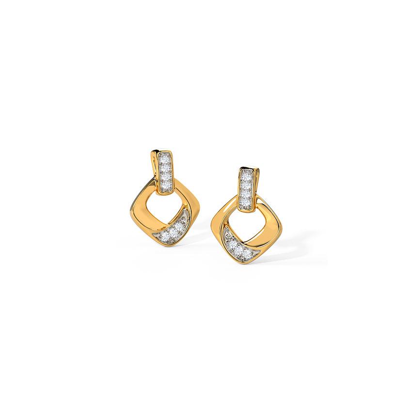 Diamond Earrings 14 Karat Yellow Gold Alluring Stud Earrings