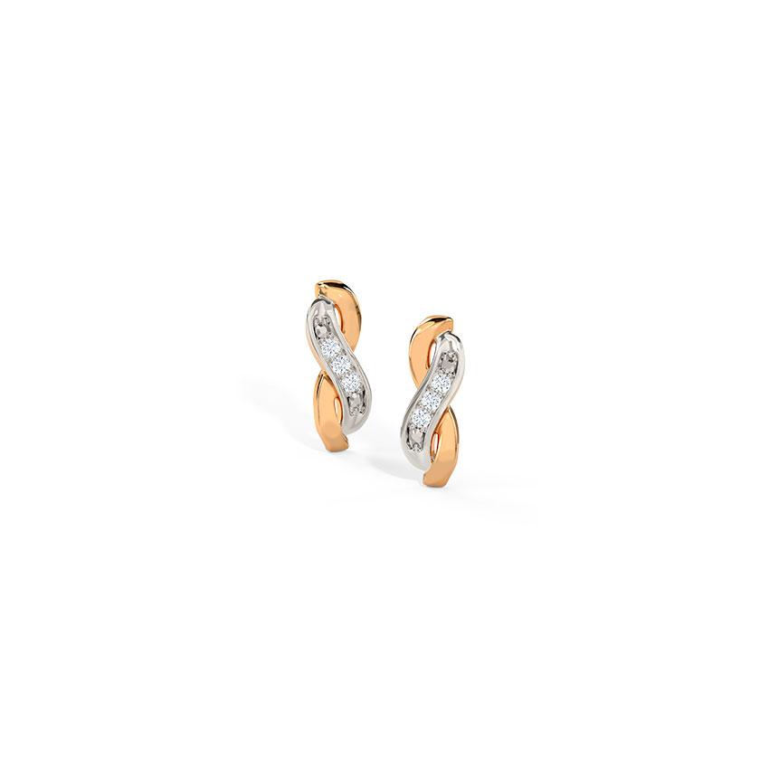 Diamond Earrings 14 Karat Rose Gold Dazzling Infinity Stud Earrings