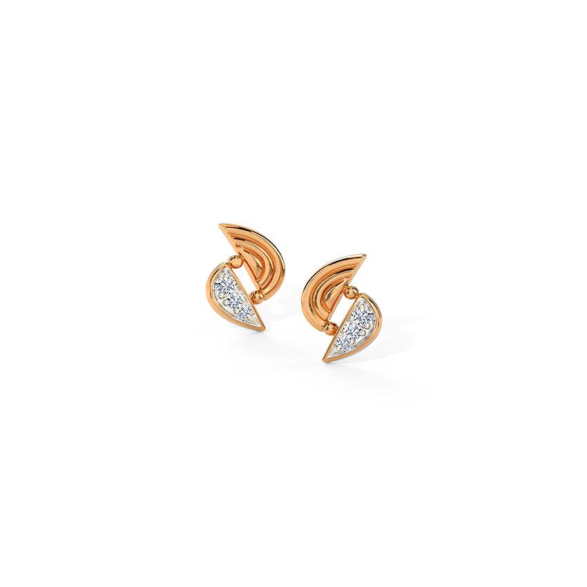 Diamond Earrings 14 Karat Rose Gold Glowing Twisted Diamond Stud Earrings