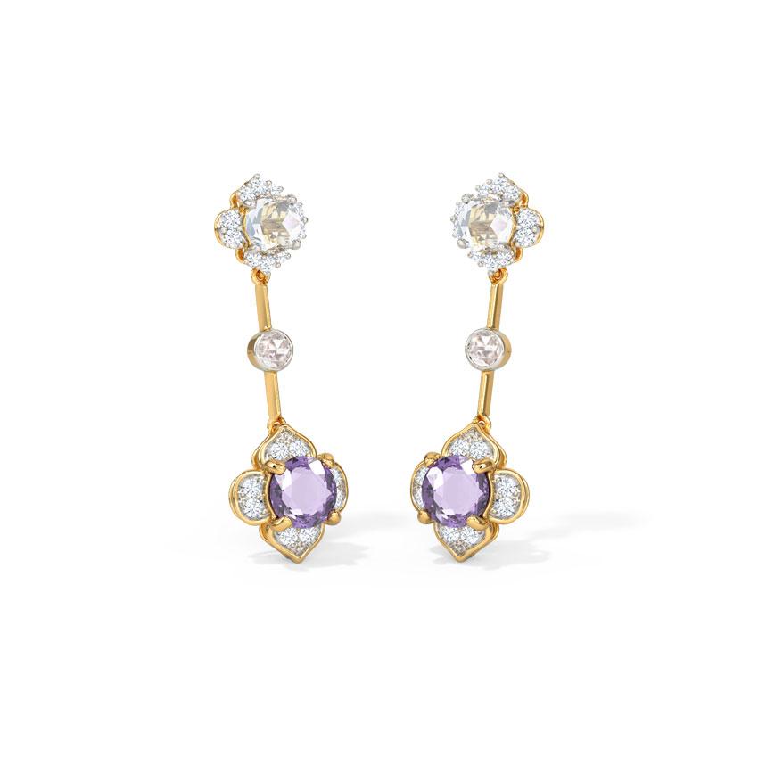 Diamond,Gemstone Earrings 14 Karat Yellow Gold Grandeur Delicate Gemstone Drop Earrings