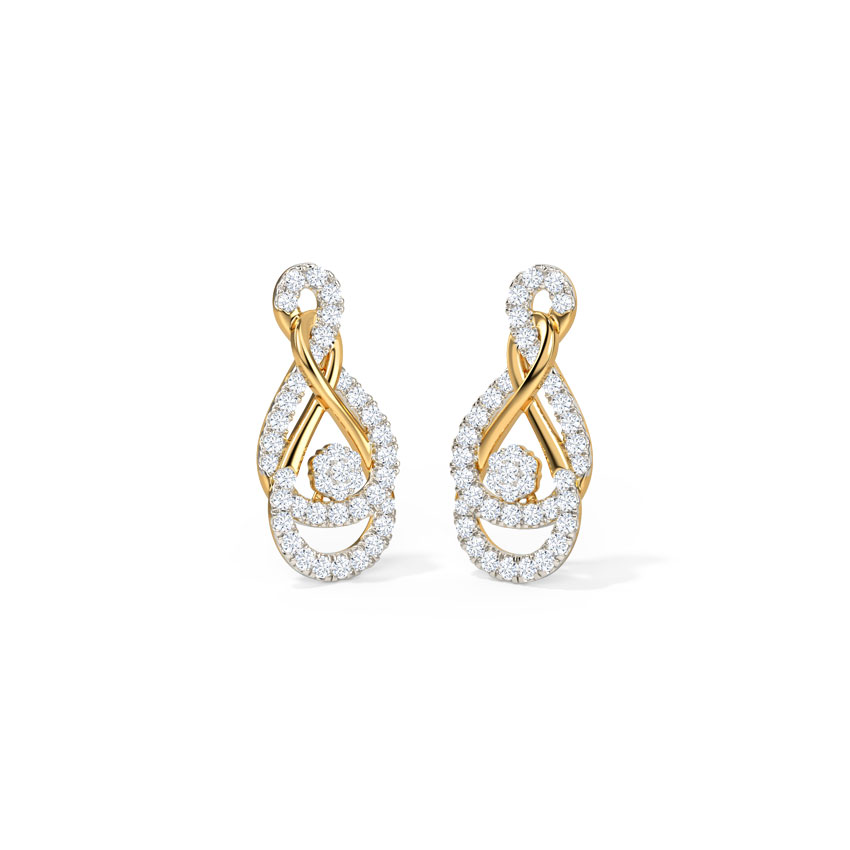 Diamond Earrings 18 Karat Yellow Gold Ele Intertwine Stud Earrings