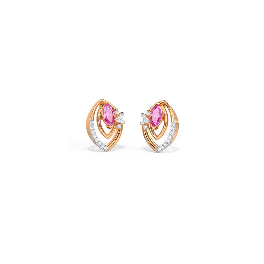 Diamond,Gemstone Earrings 14 Karat Rose Gold Aisha Petal Gemstone Stud Earrings