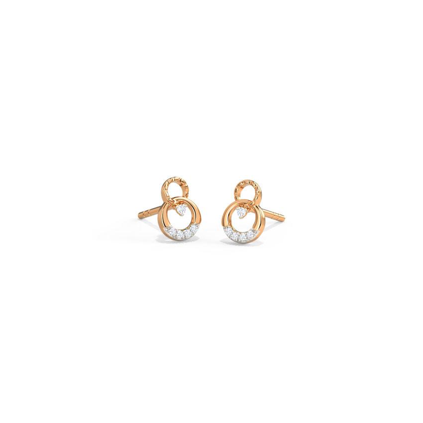 Diamond Earrings 14 Karat Rose Gold Embrace Stud Earrings