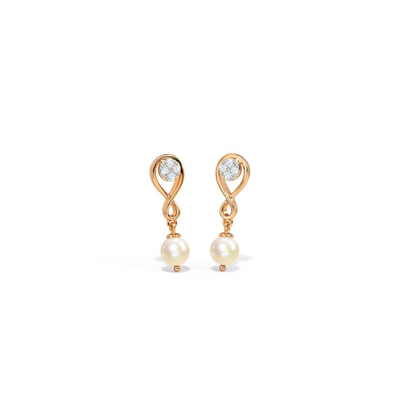 Diamond,Gemstone Earrings 14 Karat Rose Gold Infinity Pearl Gemstone Drop Earrings