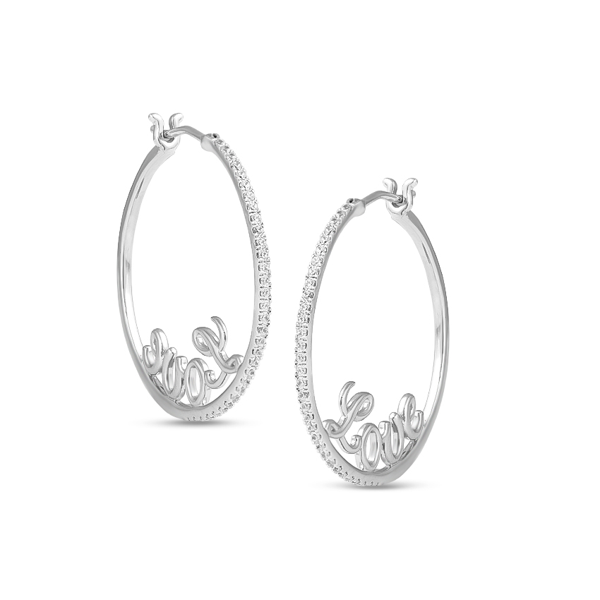 Diamond Earrings 14 Karat White Gold Aria Fine Diamond Hoop Earrings