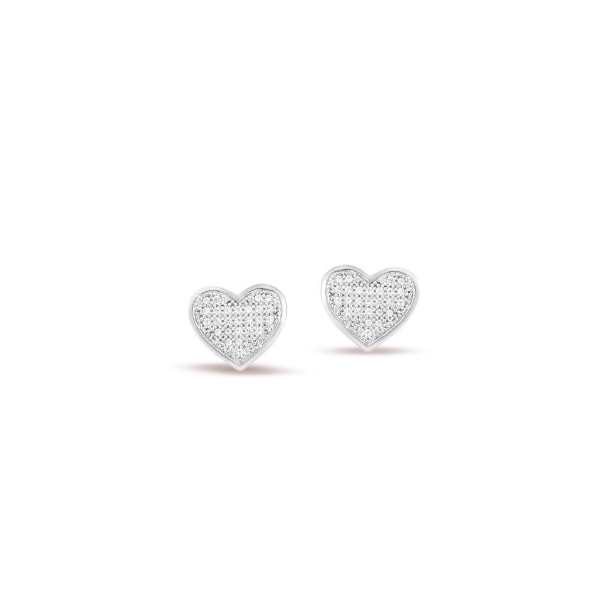 Diamond Earrings 14 Karat White Gold Glaring Heart Diamond Stud Earrings