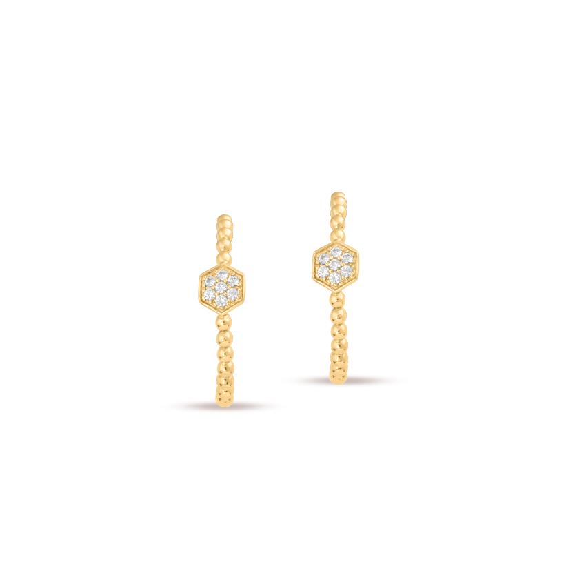Diamond Earrings 14 Karat Yellow Gold Enchanting Fashion Diamond Hoop Earrings