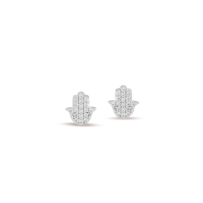 Diamond Earrings 14 Karat White Gold Hamsa Diamond Stud Earrings