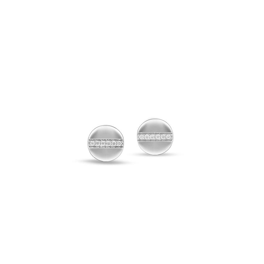 Diamond Earrings 14 Karat White Gold Orb Dazzle Diamond Stud Earrings
