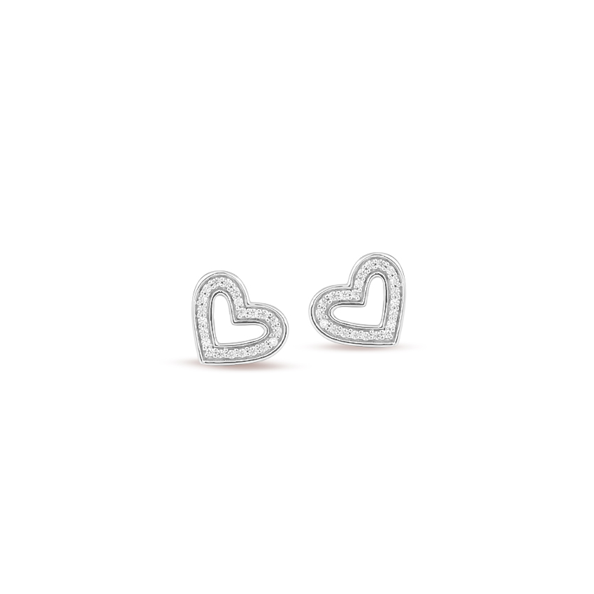 Diamond Earrings 14 Karat White Gold Lucky Love Diamond Stud Earrings