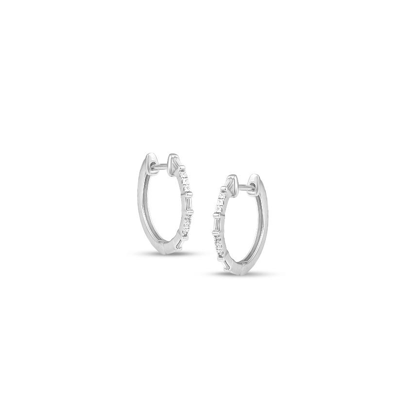 Diamond Earrings 14 Karat White Gold Tahira Diamond Hoop Earrings