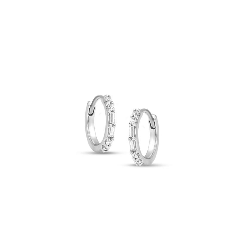 Diamond Earrings 14 Karat White Gold Jankee Diamond Hoop Earrings