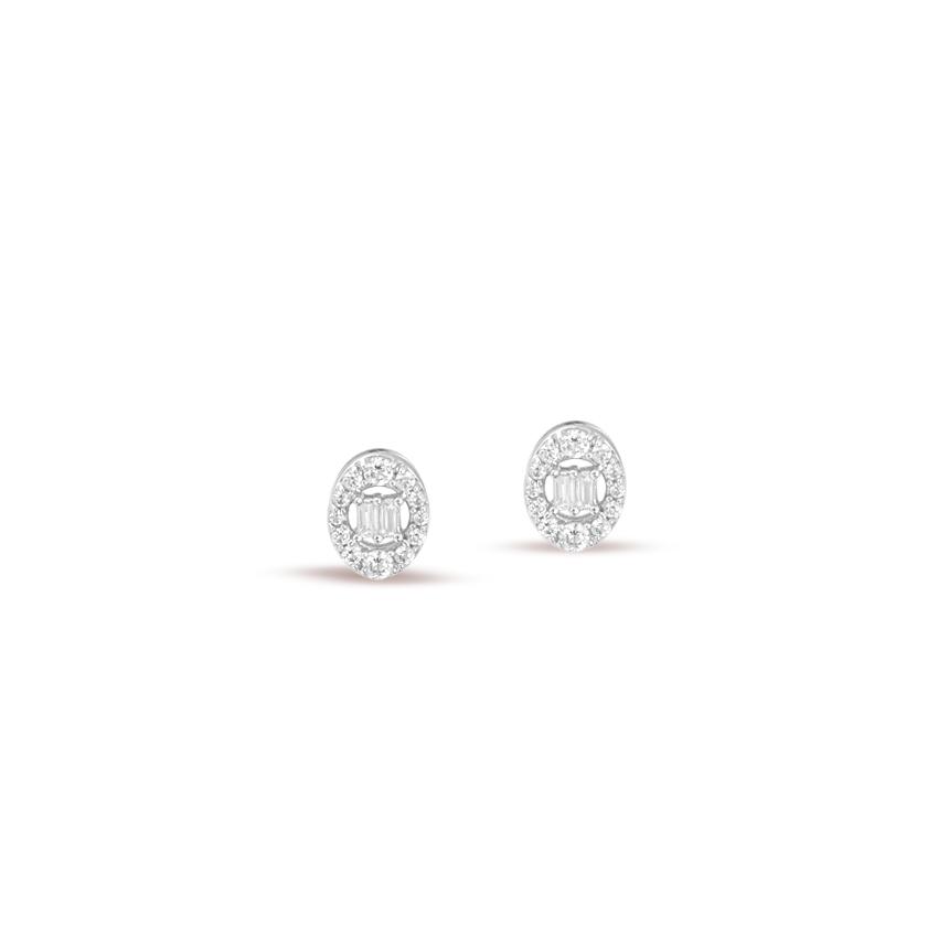 Diamond Earrings 14 Karat White Gold Radiant Circlet Diamond Stud Earrings