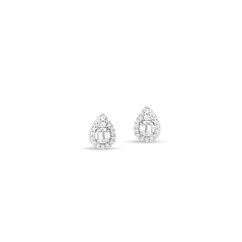 Diamond Earrings 14 Karat White Gold Twinkling Drop Diamond Stud Earrings