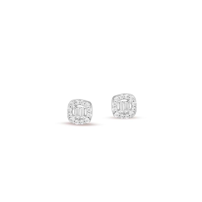 Diamond Earrings 14 Karat White Gold Gorgeous Quad Diamond Stud Earrings