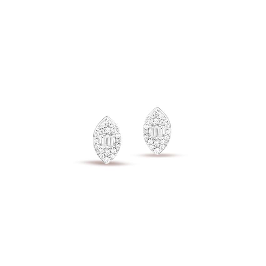 Diamond Earrings 14 Karat White Gold Aravi Brilliant Diamond Stud Earrings