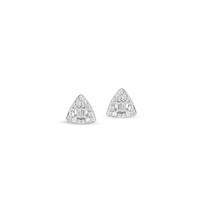 Diamond Earrings 14 Karat White Gold Trillion Shimmer Diamond Stud Earrings