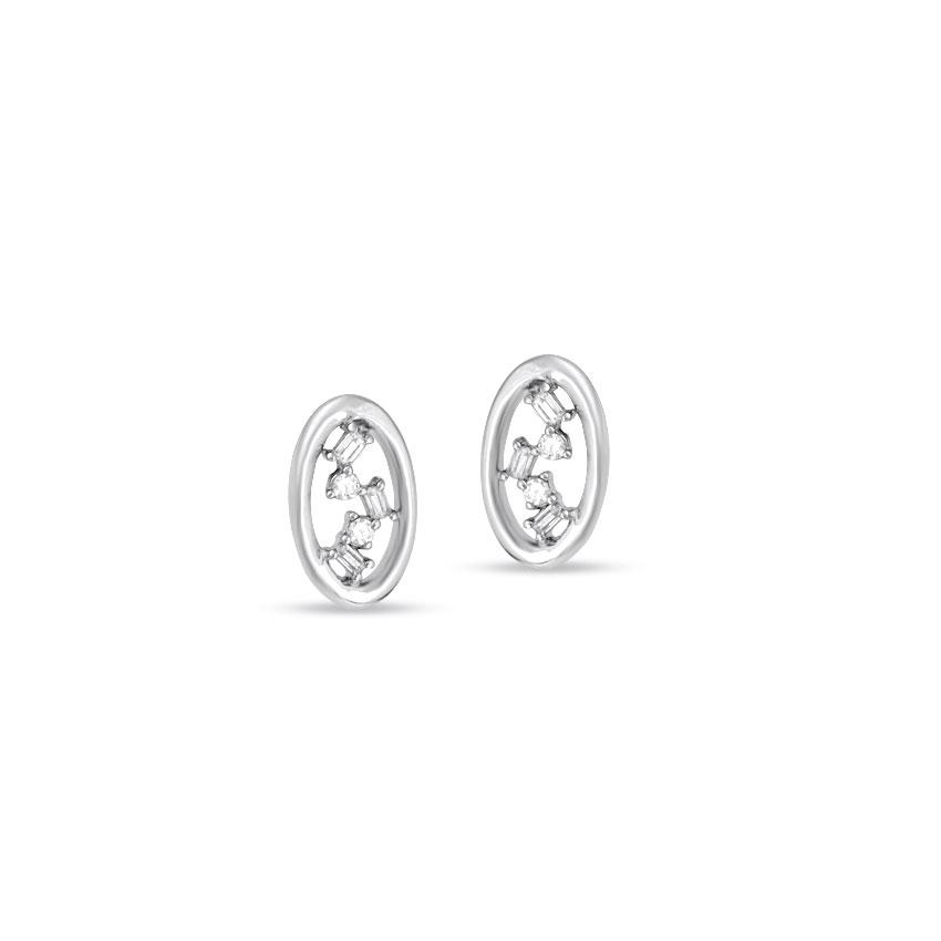 Diamond Earrings 14 Karat White Gold Flashing Oval Diamond Stud Earrings