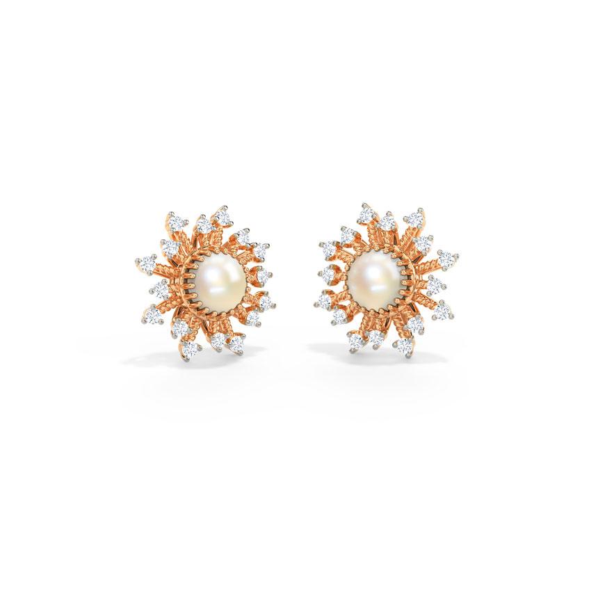 Diamond,Gemstone Earrings 14 Karat Rose Gold Amala Pearl Gemstone Stud Earrings