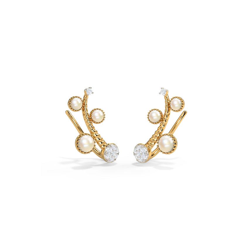 Diamond,Gemstone Earrings 14 Karat Yellow Gold Naraa Gemstone Ear Cuffs