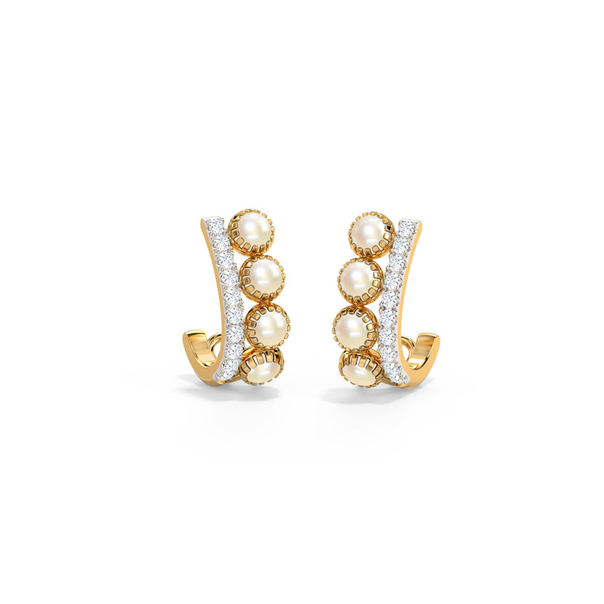 Diamond,Gemstone Earrings 14 Karat Yellow Gold Zeel Gemstone Hoop Earrings