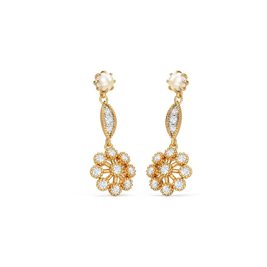 Diamond,Gemstone Earrings 14 Karat Yellow Gold Inika Floret Gemstone Drop Earrings