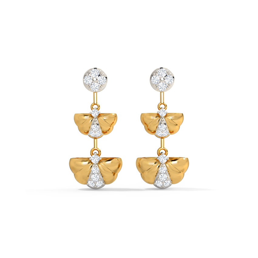 Diamond Earrings 14 Karat Yellow Gold Kairi Diamond Drop Earrings