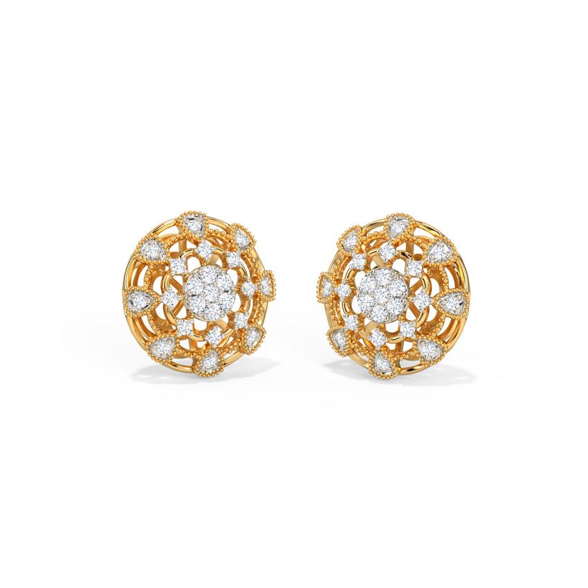 Diamond Earrings 14 Karat Yellow Gold Dignified Diamond Stud Earrings