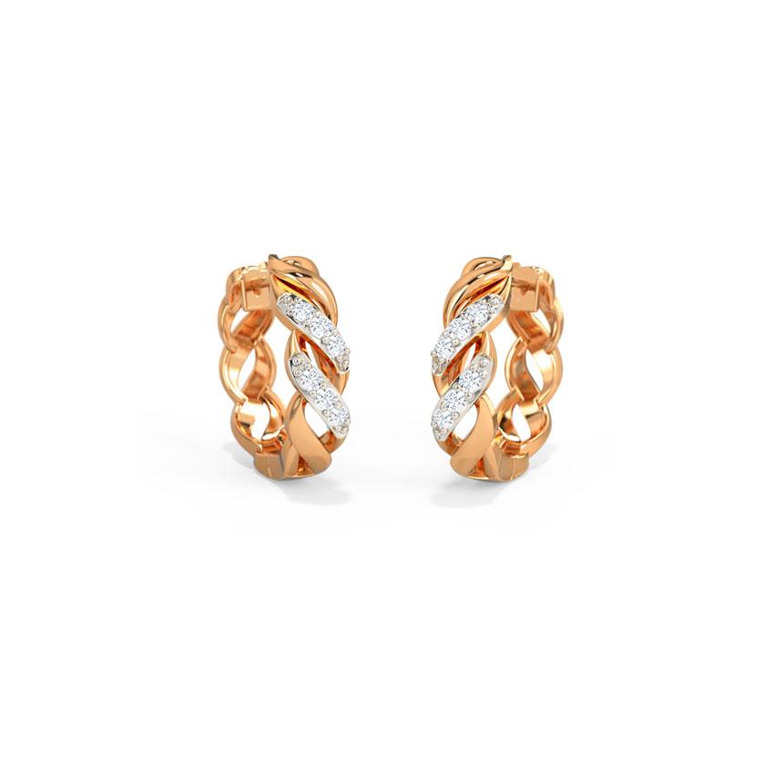 Diamond Earrings 14 Karat Rose Gold Delaney Twist Hoop Earrings