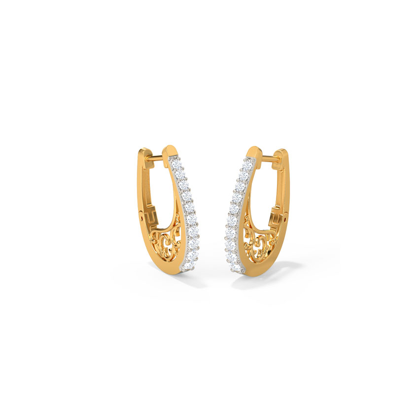 Diamond Earrings 14 Karat Yellow Gold Alessia Hoop Earrings