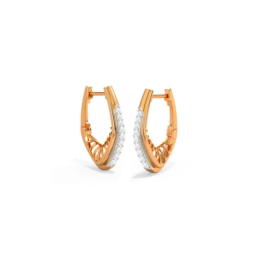 Diamond Earrings 14 Karat Rose Gold Astrid Hoop Earrings