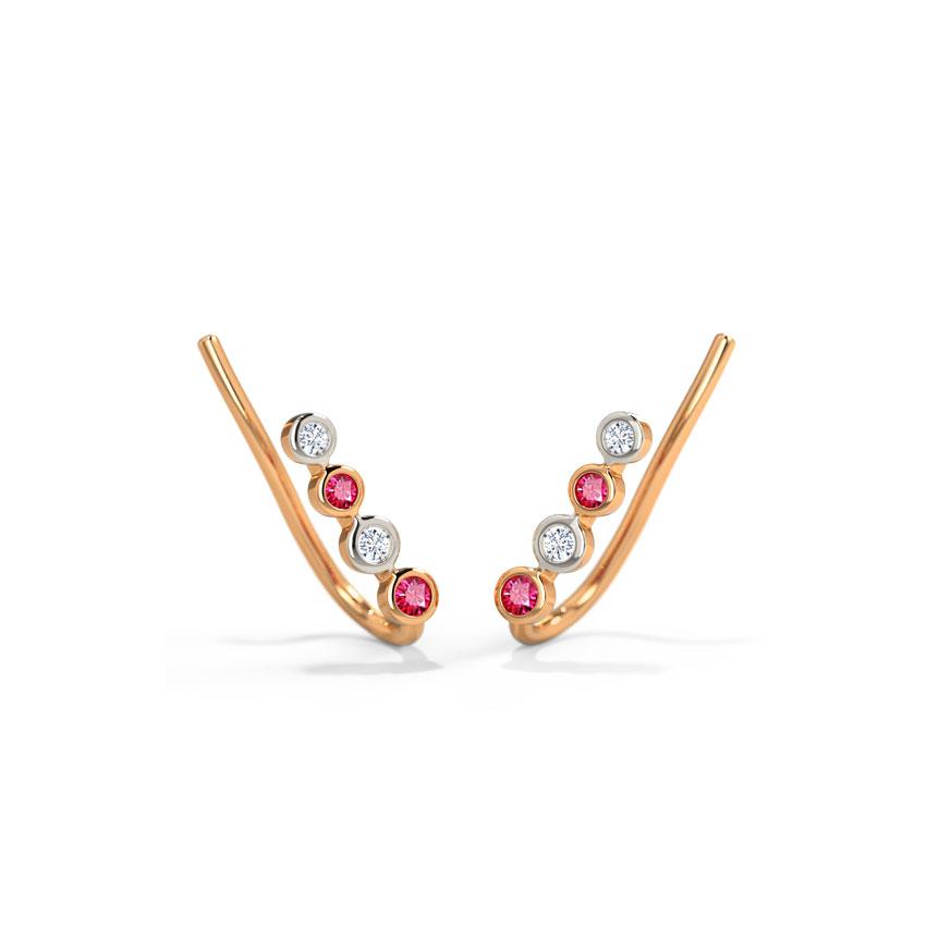 Diamond,Gemstone Earrings 14 Karat Rose Gold Colorful Sleek Gemstone Ear Cuffs