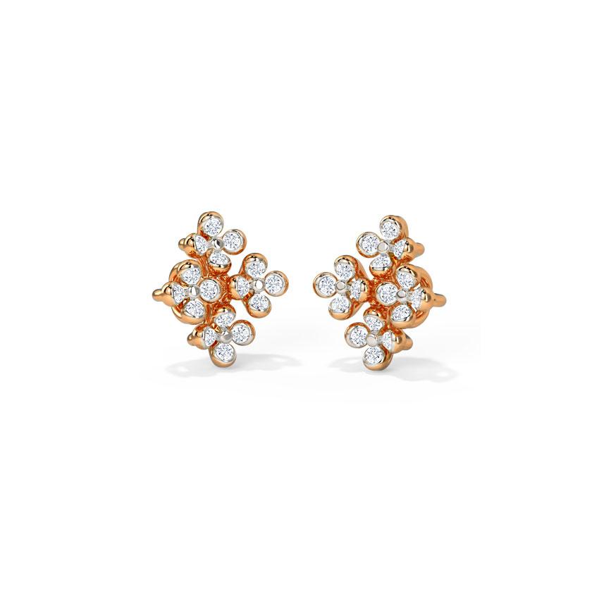 Diamond Earrings 14 Karat Rose Gold Billie Diamond Stud Earrings