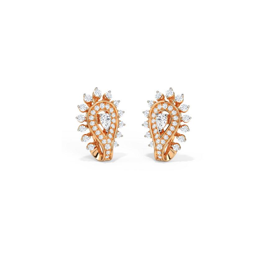 Diamond Earrings 14 Karat Rose Gold Aris Diamond Hoop Earrings