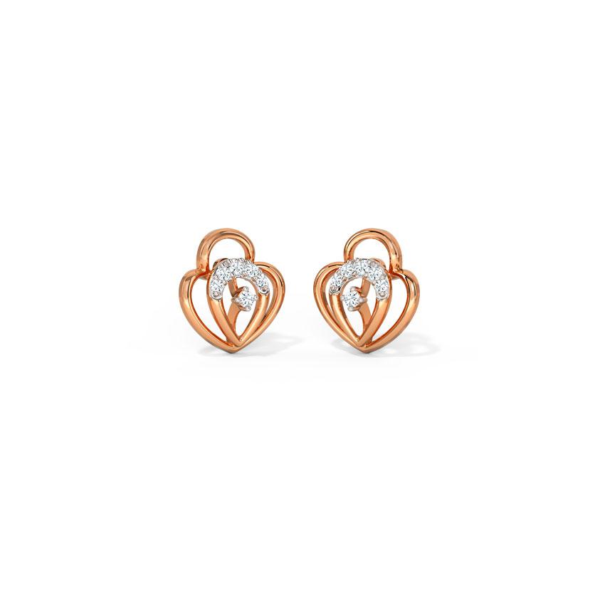 Diamond Earrings 14 Karat Rose Gold Alyssa Pretty Diamond Hoop Earrings