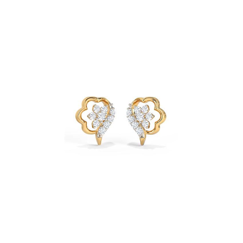 Diamond Earrings 14 Karat Yellow Gold Callie Fine Diamond Stud Earrings