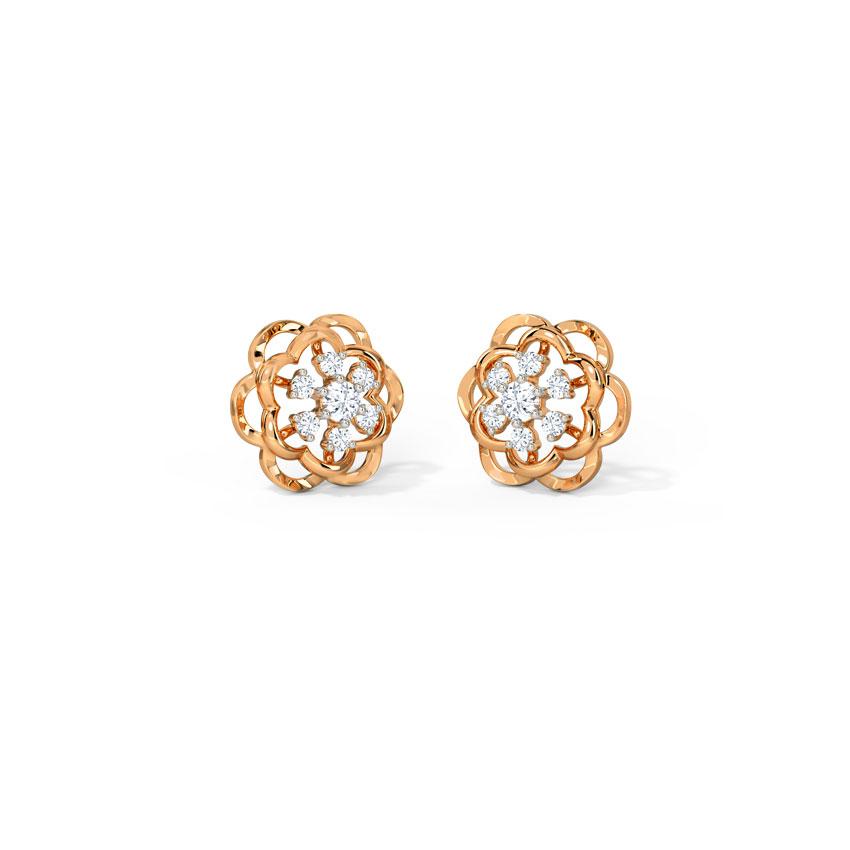 Diamond Earrings 14 Karat Rose Gold Emily Adorable Diamond Stud Earrings
