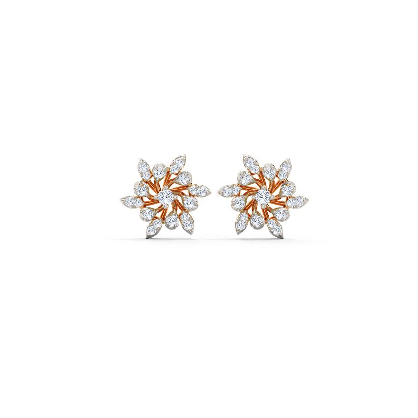 Diamond Earrings 14 Karat Rose Gold Lasie Diamond Stud Earrings