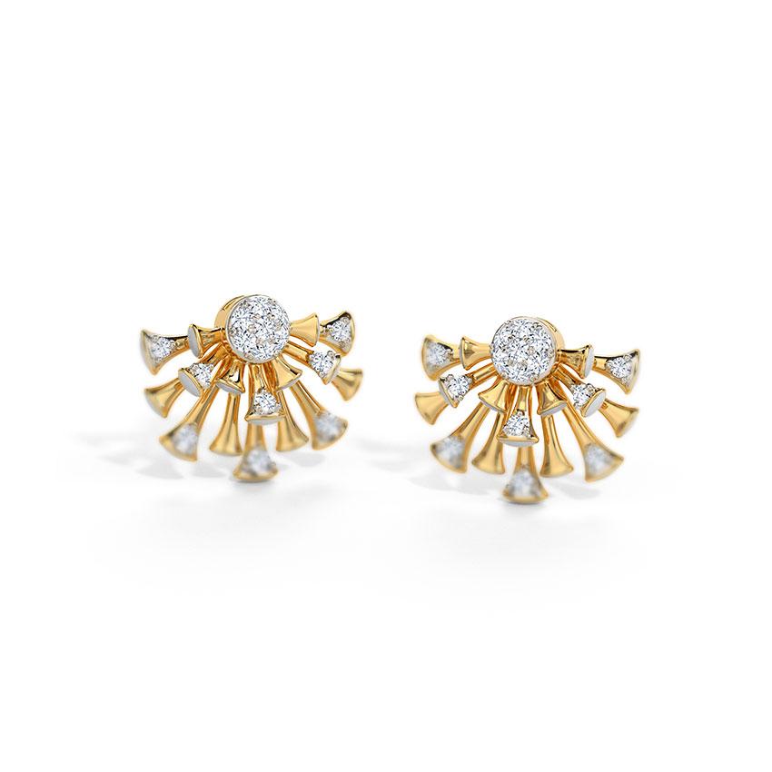 Diamond Earrings 14 Karat Yellow Gold Ebony Diamond Stud Earrings