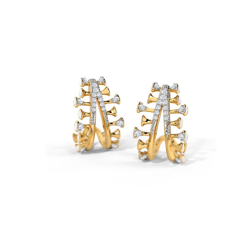 Diamond Earrings 14 Karat Yellow Gold Elvira Diamond Hoop Earrings