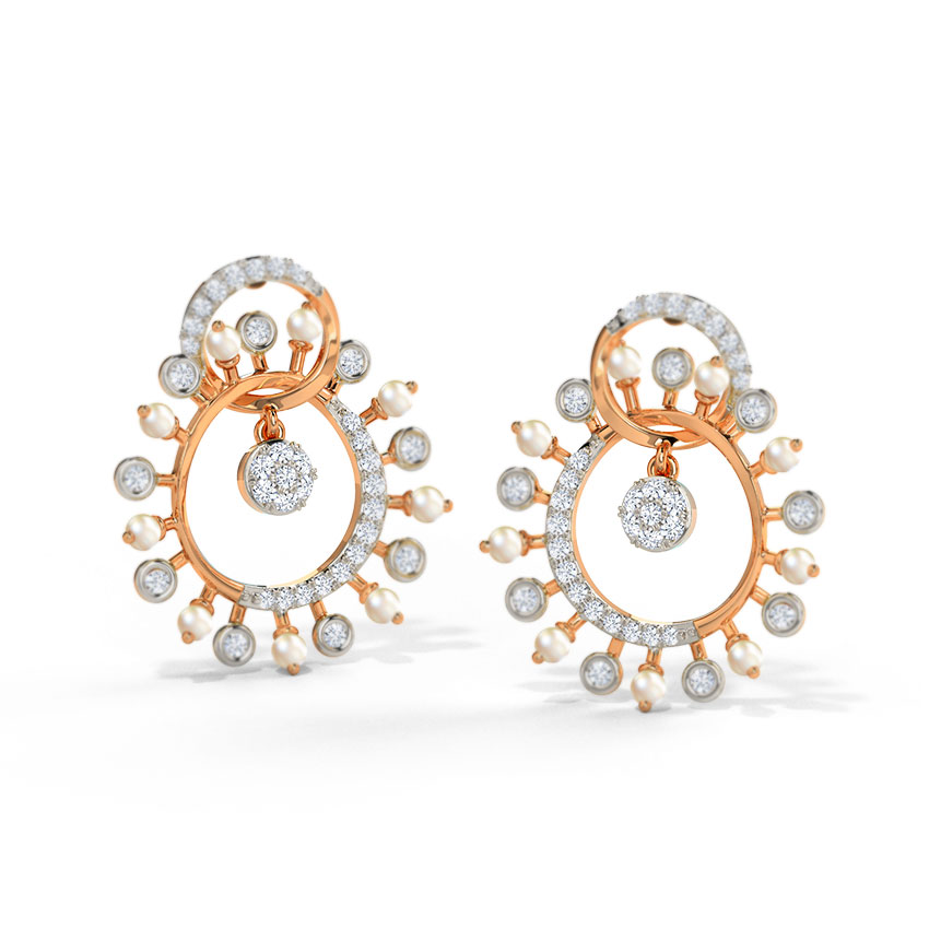 Diamond,Gemstone Earrings 14 Karat Rose Gold Eilise Diamond Drop Earrings