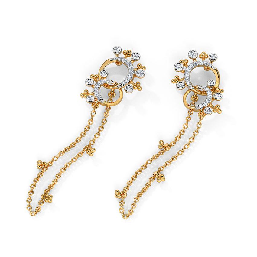Diamond Earrings 14 Karat Rose Gold Ekko Diamond Drop Earrings
