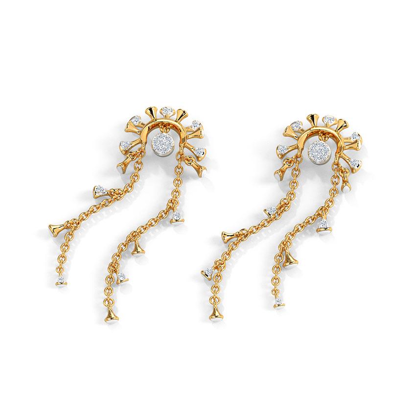 Diamond Earrings 14 Karat Rose Gold Electra Diamond Drop Earrings