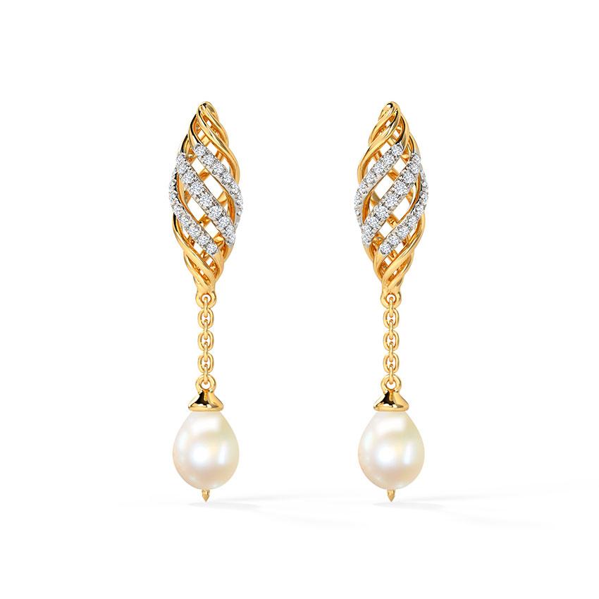 Diamond,Gemstone Earrings 14 Karat Yellow Gold Alza Diamond Drop Earrings