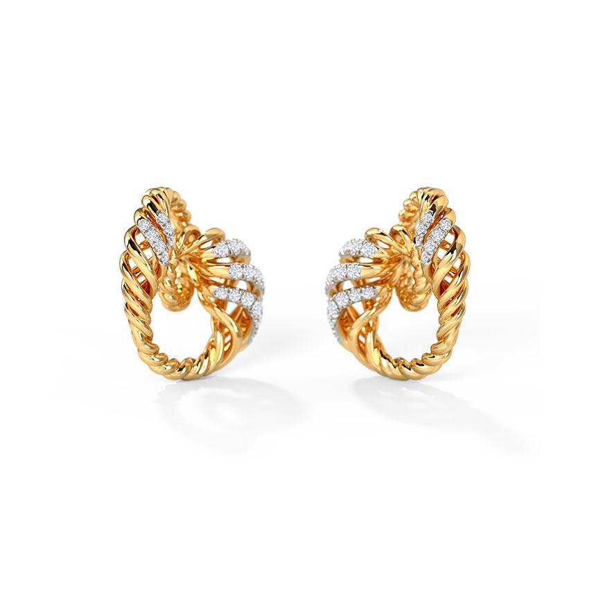 Diamond Earrings 14 Karat Yellow Gold Birgit Diamond Stud Earrings